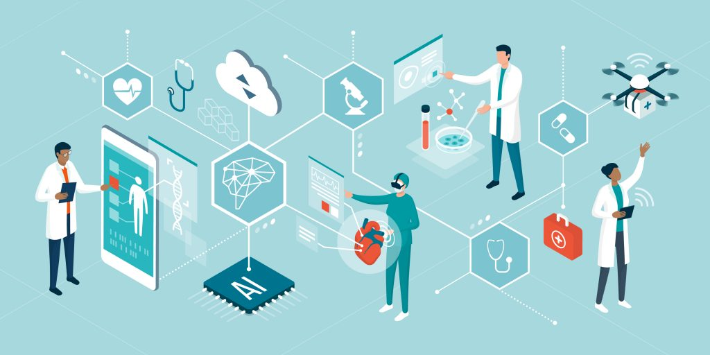 Profissionais de saúde trabalhando com tecnologia