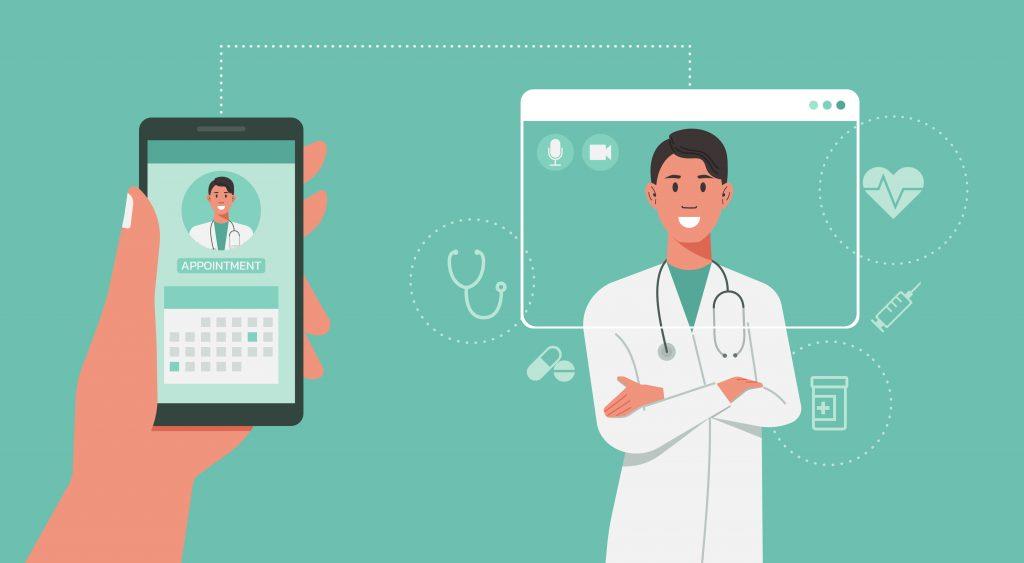 Mão segurando um celular com a foto de um médico e um calendário