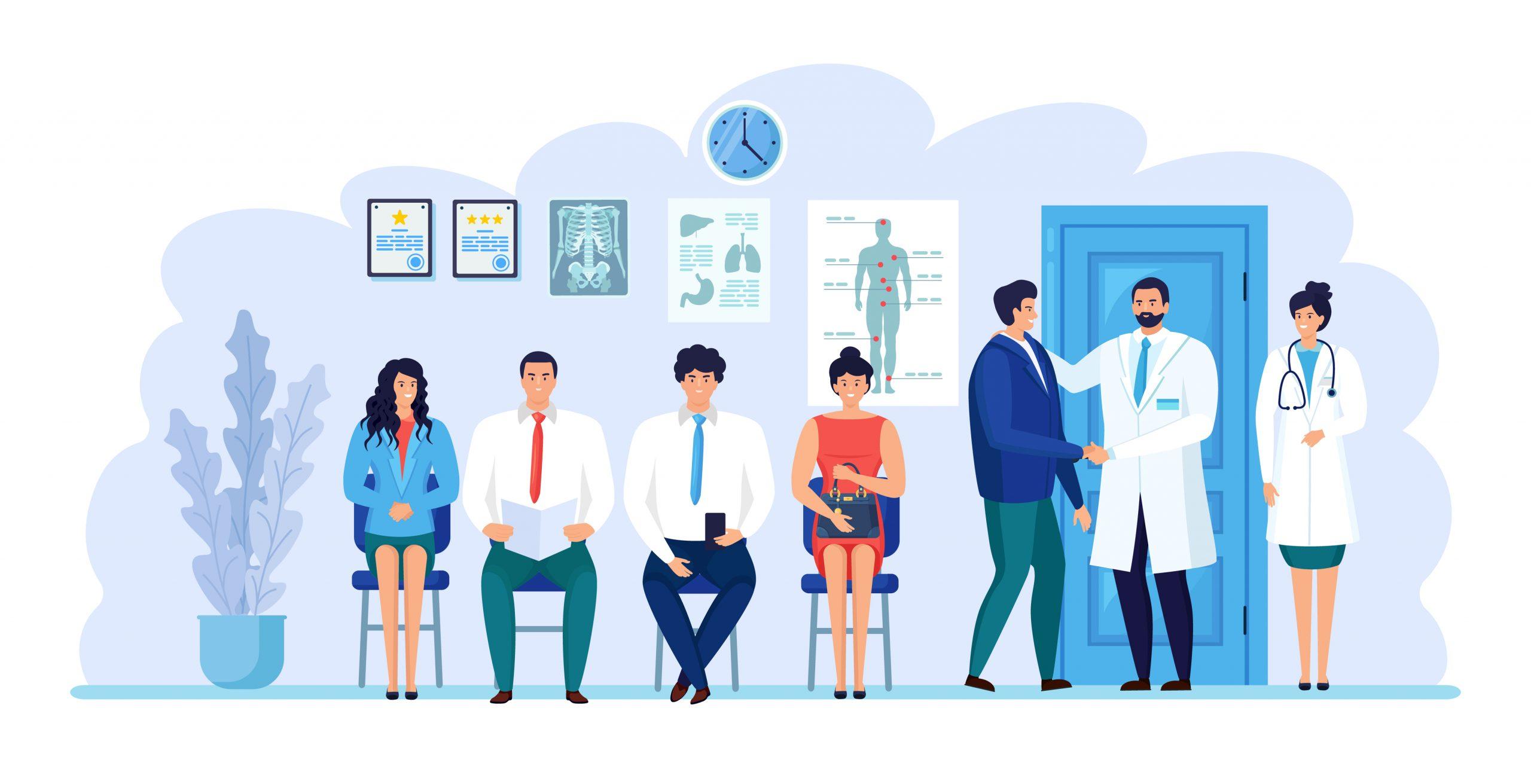 Pacientes em um sala de espera aguardando atendimento médico.