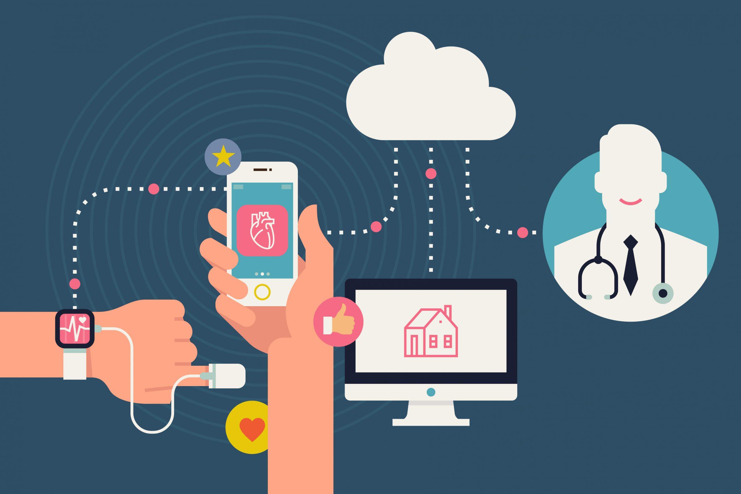 Imagem mostrando a conexão entre paciente, médico e a tecnologia
