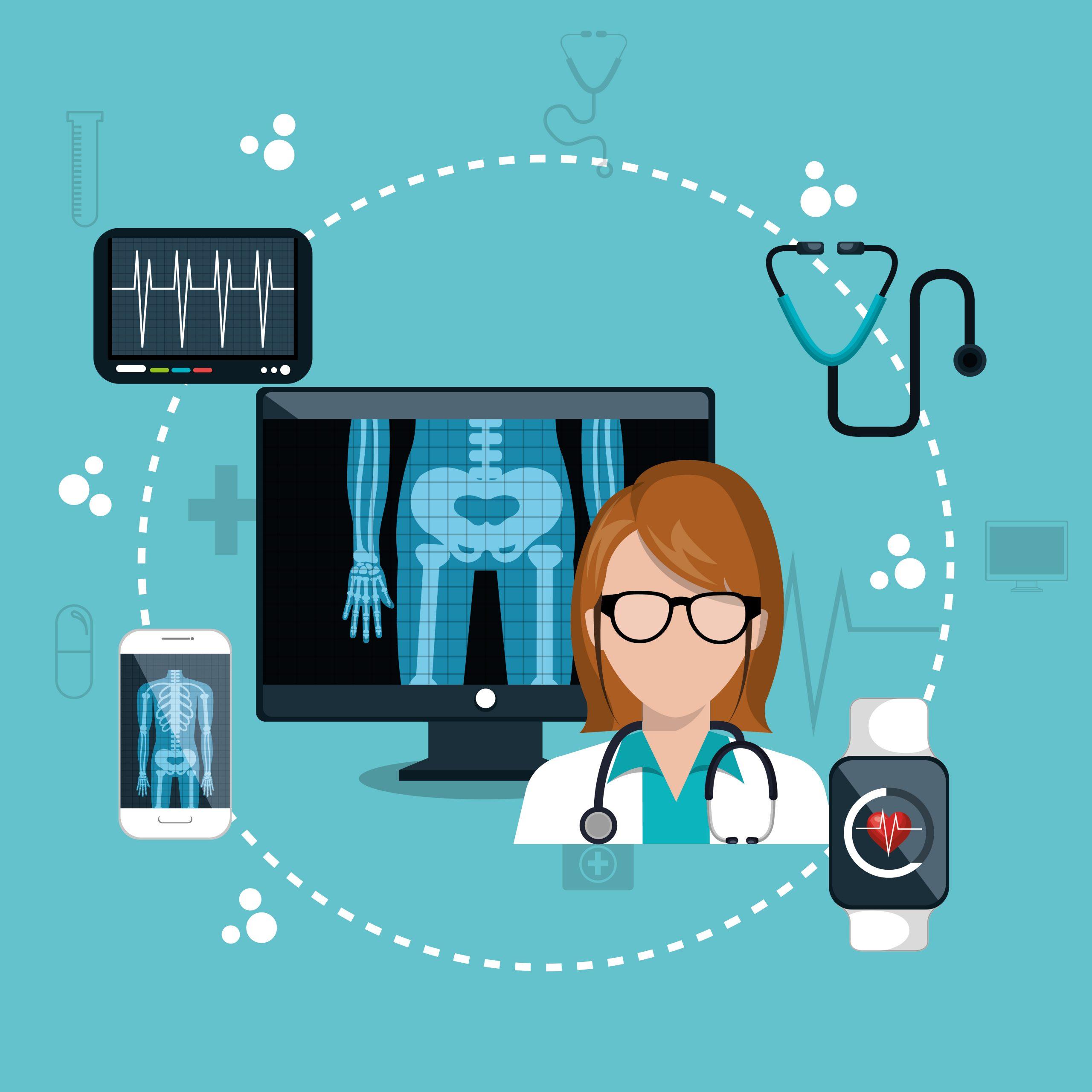 Médica ao lado de um computador e celular mostrando um raio-x e eletrocardiograma